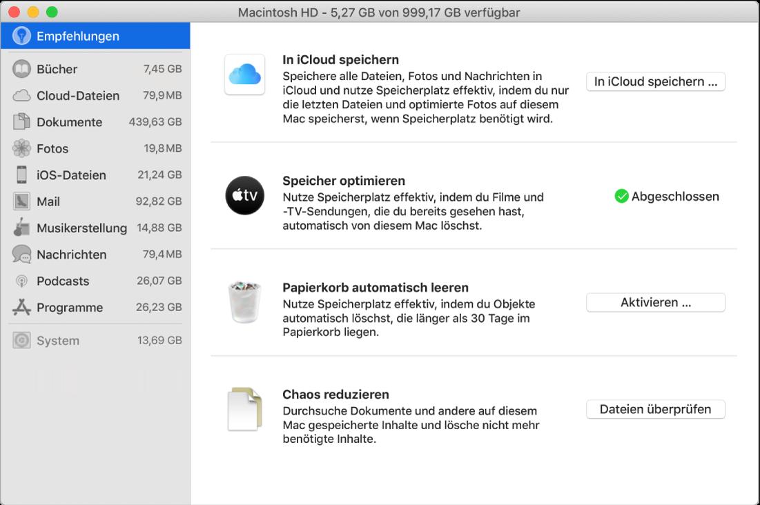"""Der Bereich """"Empfehlungen"""" für den Speicher mit den Optionen """"In iCloud speichern"""", """"Speicher optimieren"""", """"Papierkorb automatisch löschen"""" und """"Chaos reduzieren""""."""
