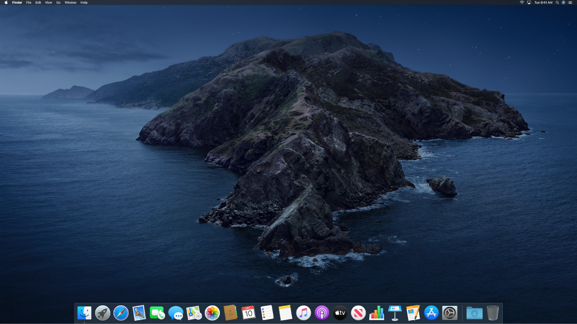 The desktop in Dark Mode.