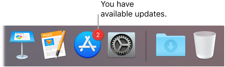 A section of the Dock showing the App Store icon with a badge, indicating that there are available updates.