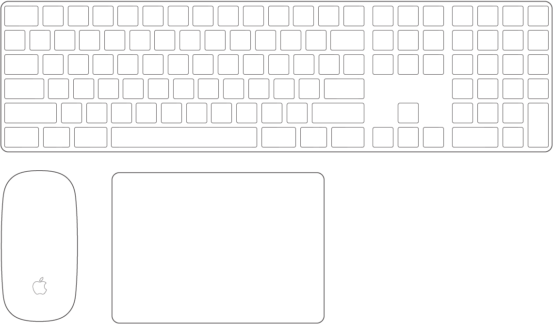 The Magic Keyboard with Numeric Keypad and Magic Mouse 2, which come with your Mac Pro.