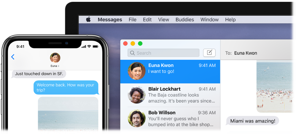 The Messages app open on a Mac, showing the same conversation in Messages on an iPhone.