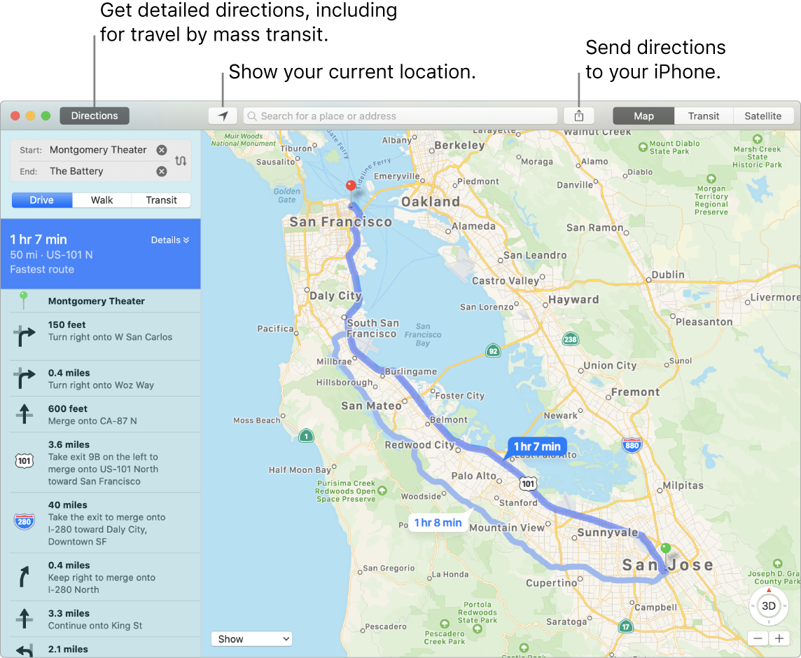 A Maps window showing how to get directions by clicking Directions in the top left, and how to send directions to iPhone using the Share button.