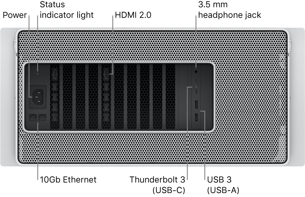 The back view of Mac Pro showing the Power port, a status indicator light, two HDMI 2.0 port, 3.5 mm headphone jack, two 10 Gigabit Ethernet ports, two Thunderbolt 3 (USB-C) ports, and two USB-A ports.