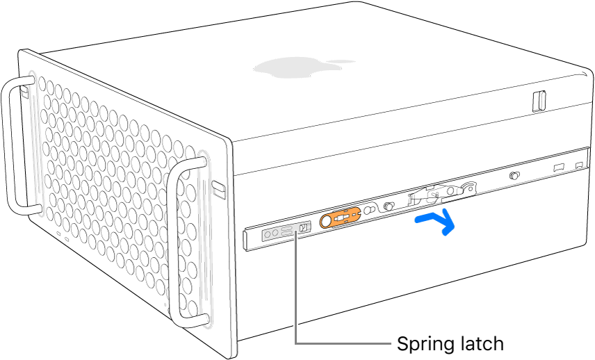 A rail being detached from the side of Mac Pro.