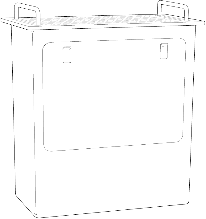 Mac Pro standing on its end, highlighting the side door.