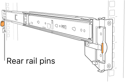 Rail assembly illustrating the location of the rear rail pins.