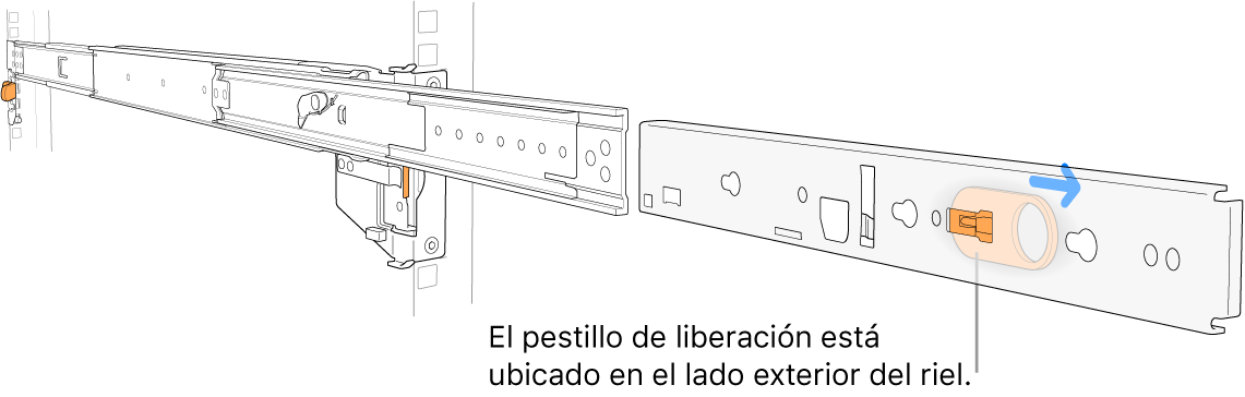 Un conjunto de rieles extendido resaltando el pestillo de liberación en el lado exterior del riel.