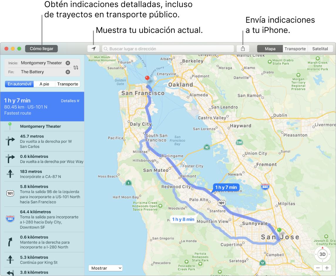 Ventana de Mapas mostrando cómo obtener indicaciones haciendo clic en Indicaciones en la parte superior izquierda; y cómo enviar indicaciones a un iPhone usando el botón Compartir.