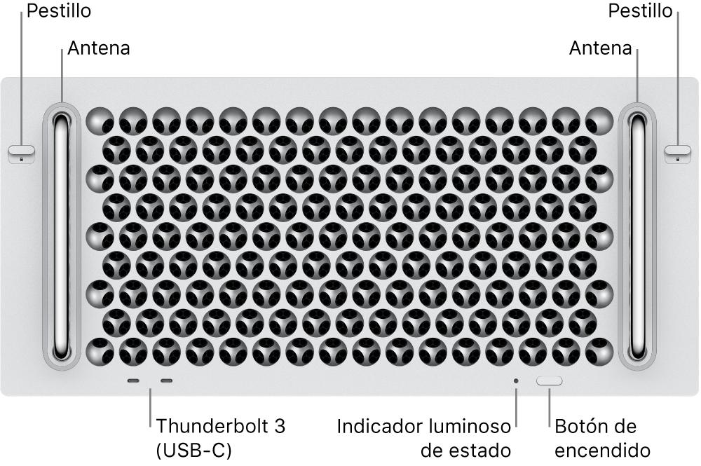 La parte frontal de la MacPro mostrando dos puertos Thunderbolt3 (USB-C), un indicador luminoso del sistema, el botón de encendido y una antena.