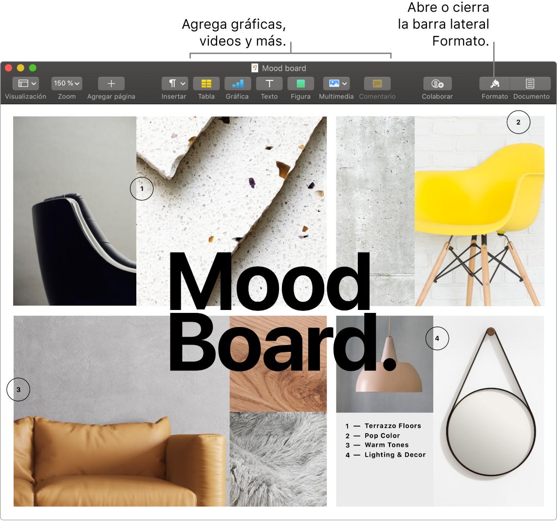 Ventana de Pages mostrando la barra de herramientas y las herramientas de edición en la parte superior, el botón Compartir cerca del centro y la barra lateral Formato a la derecha.