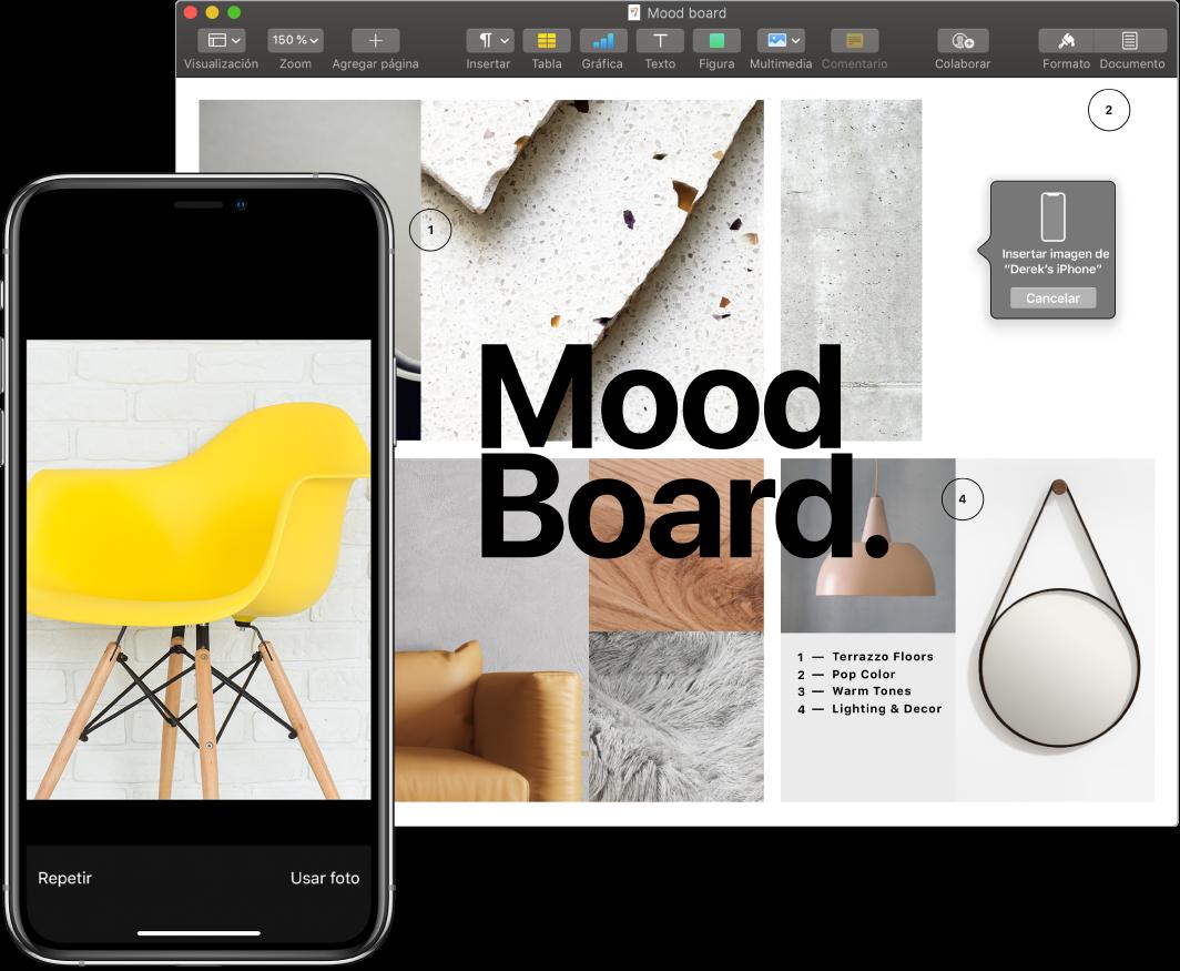 Un iPhone mostrando una fotos y la pantalla de una Mac mostrando un documento de Pages con un cuadro donde se colocará la imagen.