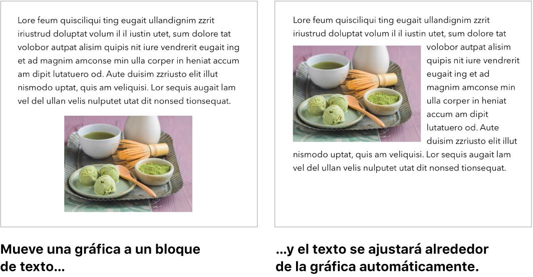 Una ventana de Pages mostrando cómo el texto se ajusta alrededor de las imágenes.