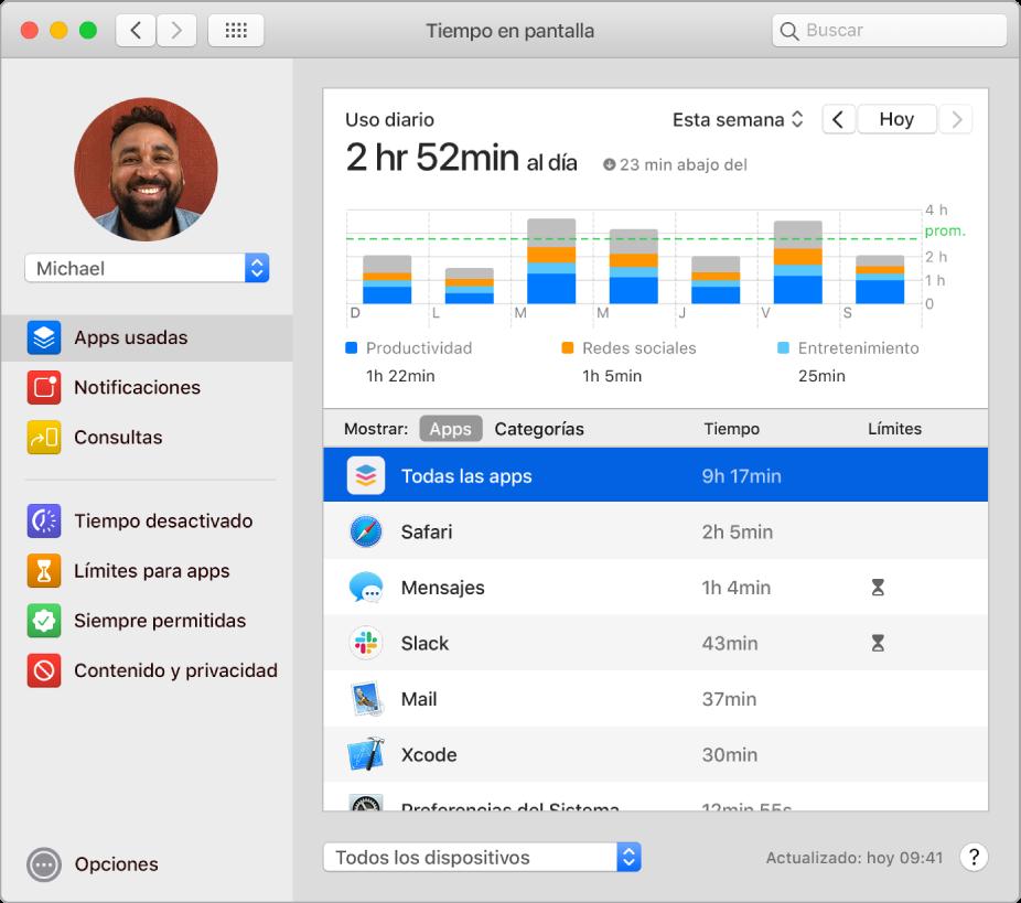 """Una ventana de """"Tiempo en pantalla"""" mostrando el tiempo que se pasan en varias apps."""
