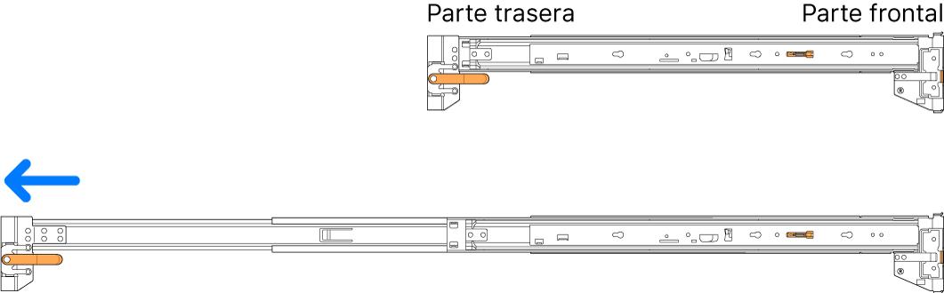 Conjuntos de rieles sin montar cerrado y extendido.