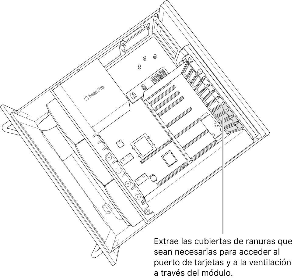Extrae las cubiertas de ranuras necesarias para acceder a los puertos de las tarjetas y a la ventilación a través del módulo.
