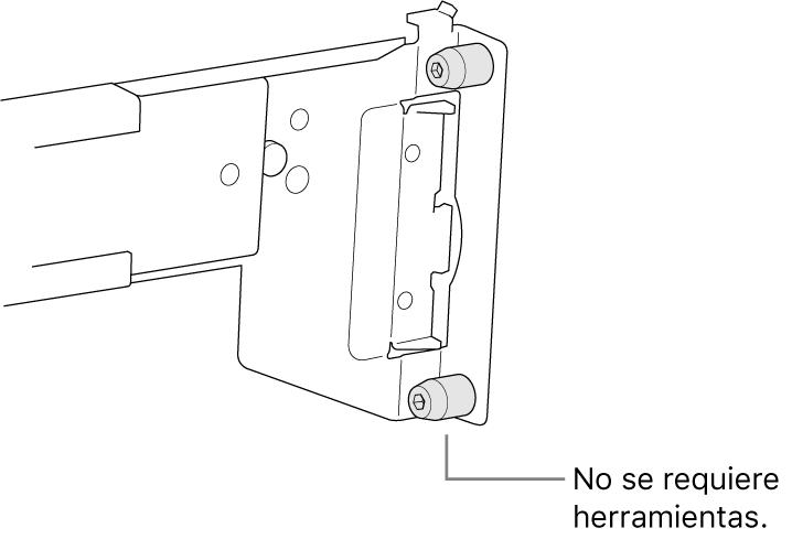 Un conjunto de rieles que se ajustan a un bastidor con agujeros cuadrados.