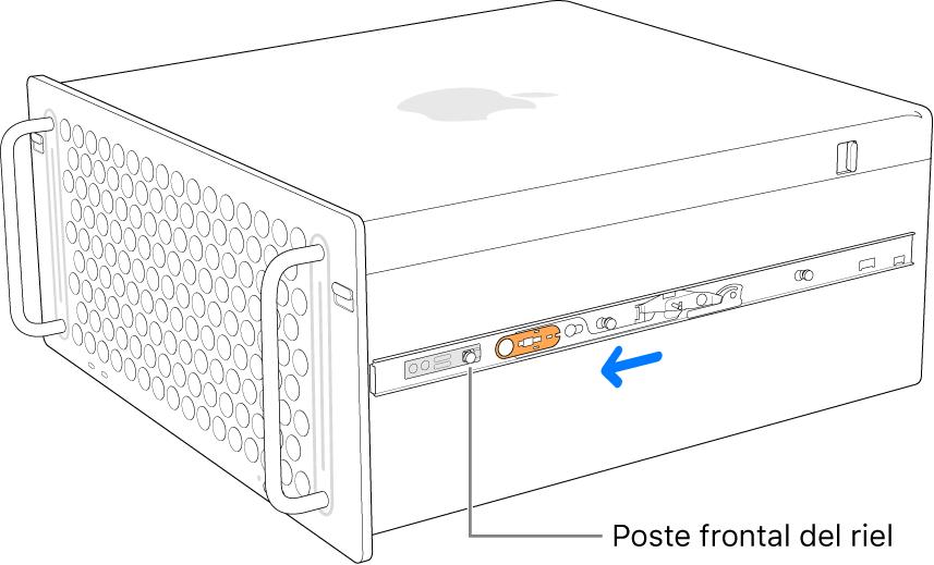 Una Mac Pro con un riel que se desliza hacia adelante y que se fija en su lugar.