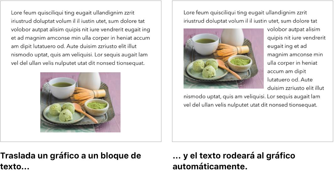 Ventana de Pages donde se muestra cómo se ajusta el texto alrededor de los gráficos.