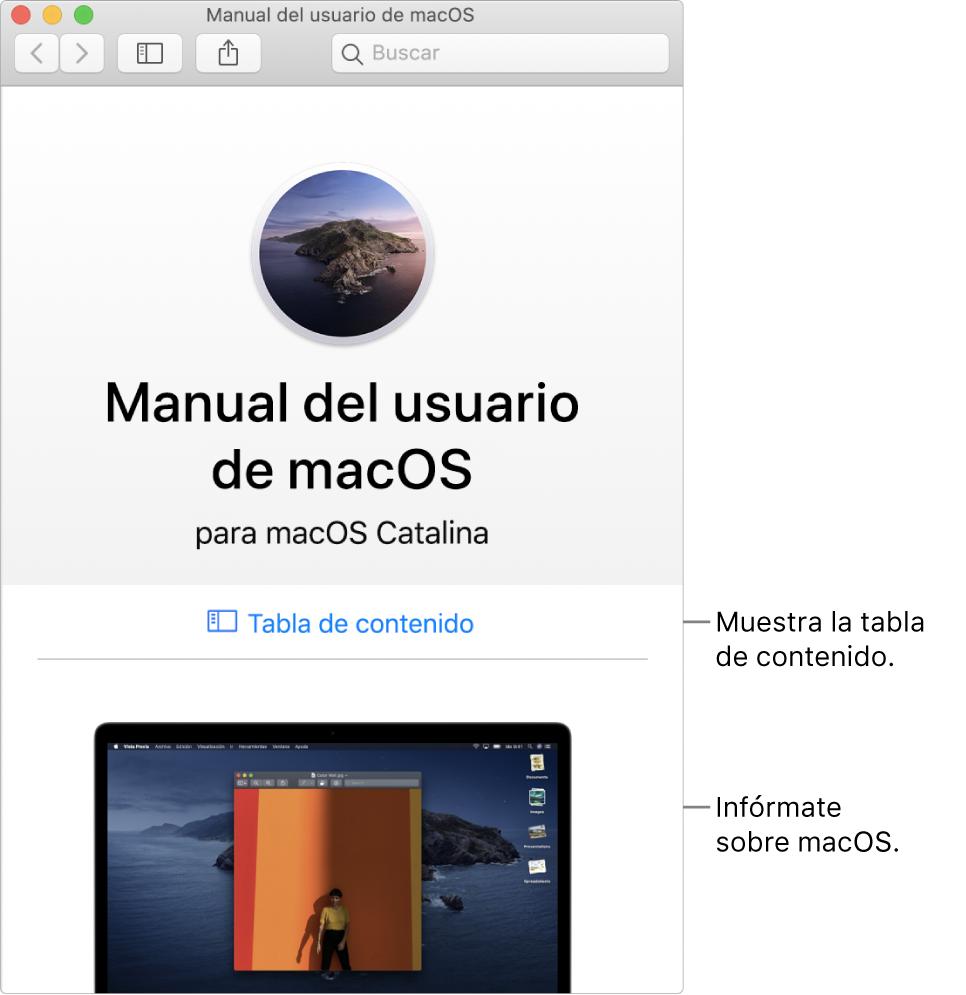 Página de bienvenida del Manualdel usuario de macOS con el enlace de la tabla de contenido.