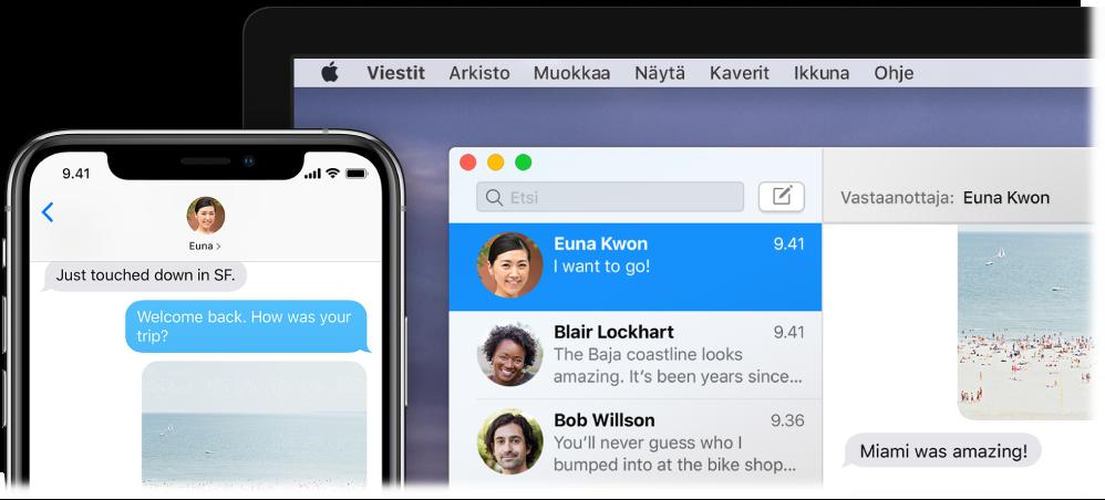 Viestit-appi avoinna Macissa, jossa näkyy sama keskustelu kuin iPhonen Viesteissä.