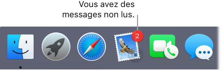 Section du Dock affichant l'icône de l'app Mail avec une pastille indiquant le nombre de messages non lus.