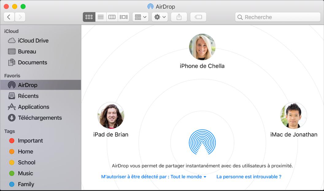 Fenêtre du Finder avec AirDrop sélectionné dans la section Favoris de la barre latérale.