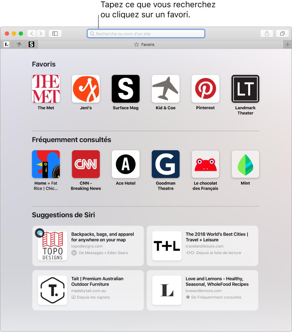Une fenêtre de Safari, où la présentation Favoris est affichée et le champ de recherche intelligente, sélectionné.