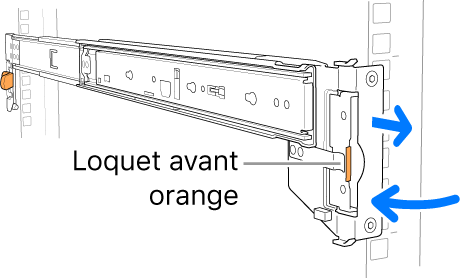 Une glissière illustrant l'emplacement du loquet avant.