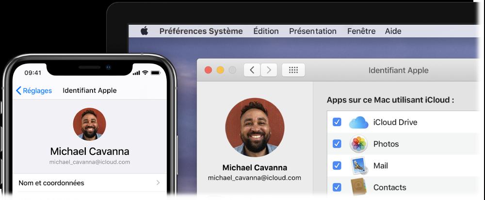 Un iPhone affichant les réglages iCloud, et l'écran d'un Mac affichant la fenêtre iCloud.