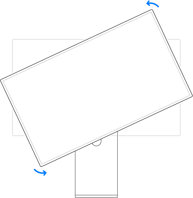 L'écran pivotant vers la gauche.