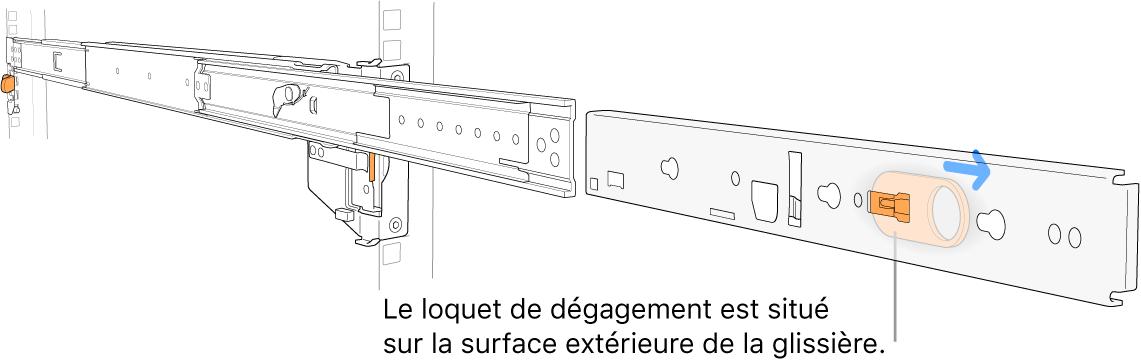 Une glissière développée mettant en évidence le loquet de dégagement sur la surface extérieure du rail.