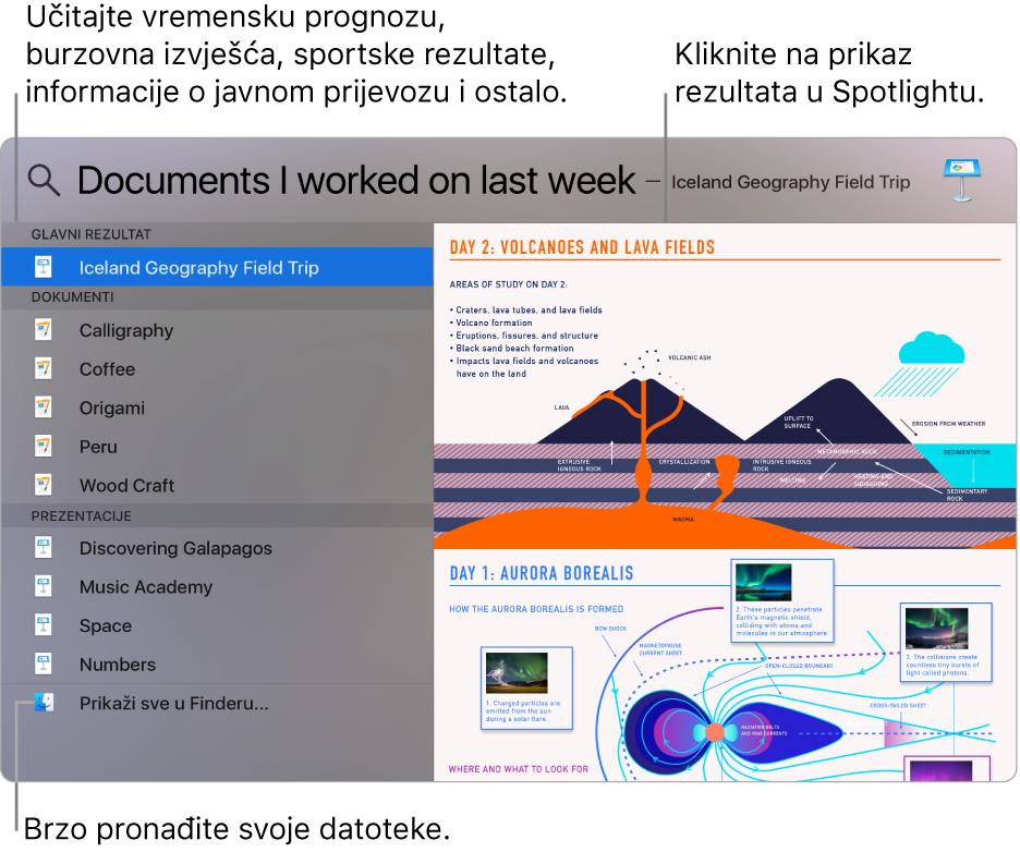 Prozor aplikacije Spotlight prikazuje rezultate pretraživanja na lijevoj strani, a pretpregled na desnoj.