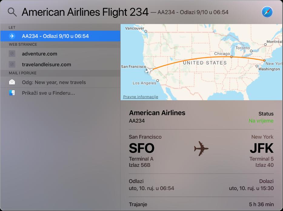 Prozor aplikacije Spotlight prikazuje kartu i informacije o letu koje ste tražili.
