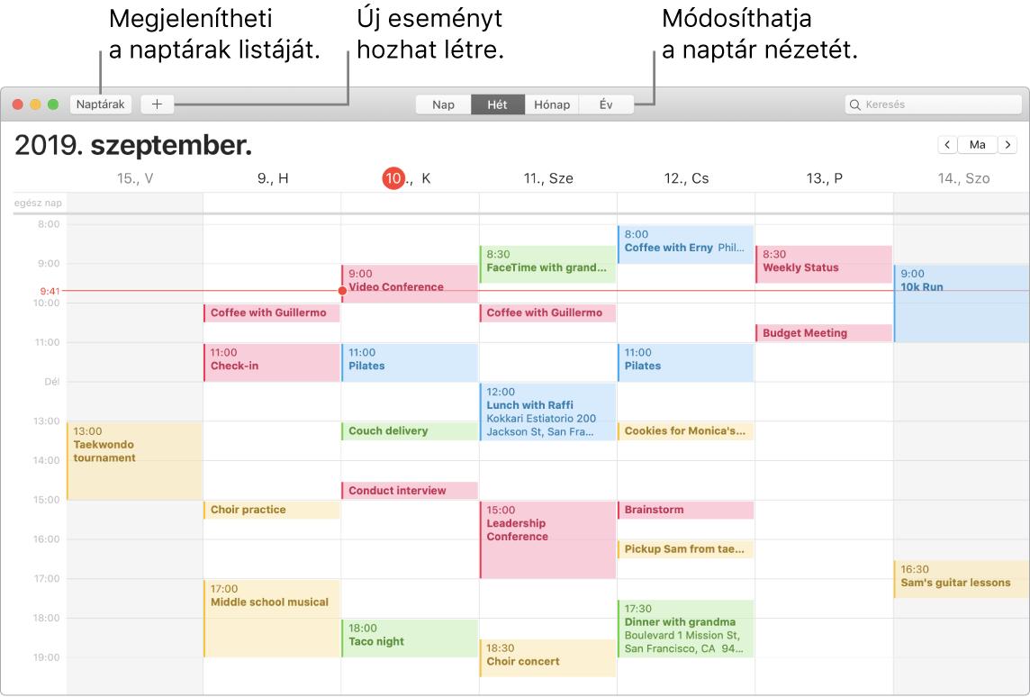 Egy Naptár-ablak, amelyben egy esemény létrehozása, a naptárak listája és a nap, hét, hónap vagy év nézet kiválasztása látható.