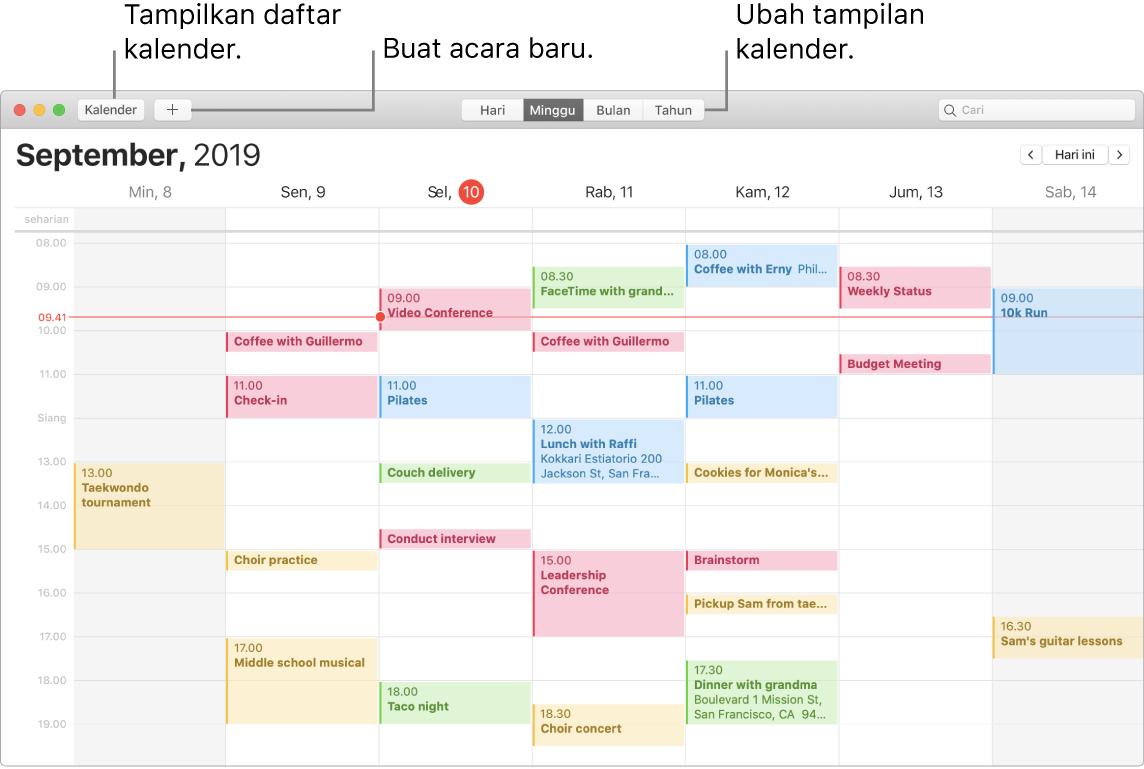 Jendela Kalender menampilkan cara membuat acara, menampilkan daftar kalender, dan memilih tampilan Hari, Minggu, Bulan, atau Tahun.