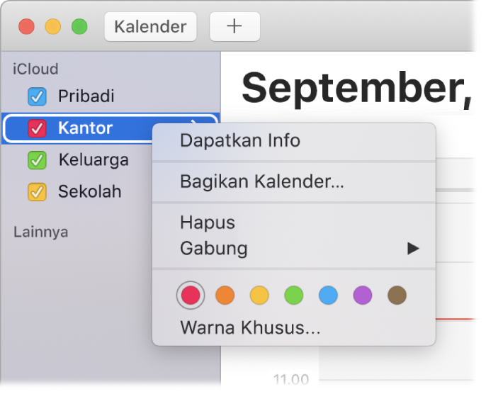 Menu pintasan Kalender dengan pilihan untuk menyesuaikan warna kalender.