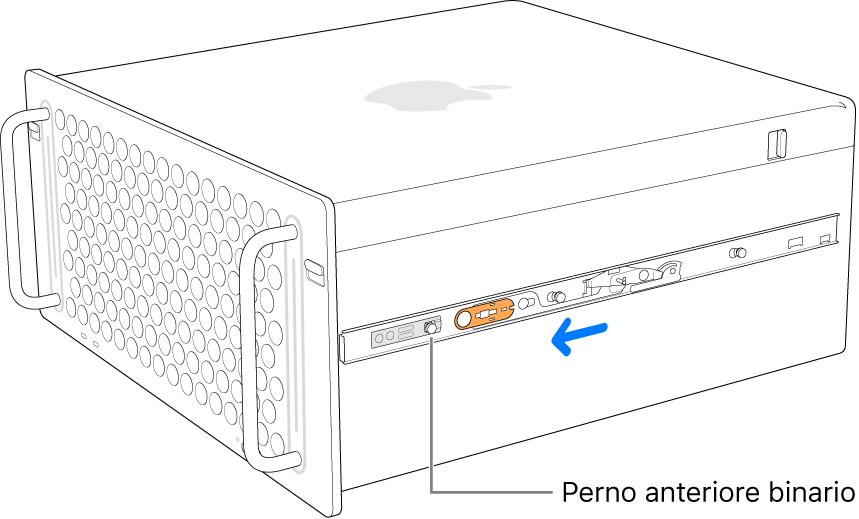 Mac Pro con binario che scorre in avanti e viene bloccato in posizione.
