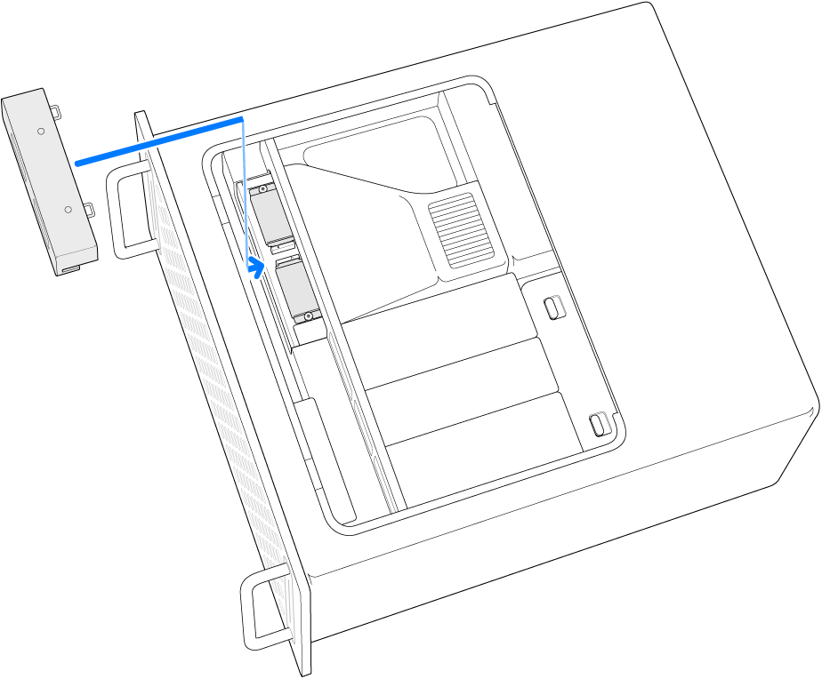 横向きのMac Pro。SSDカバーが元通りに取り付けられているところが示されています。