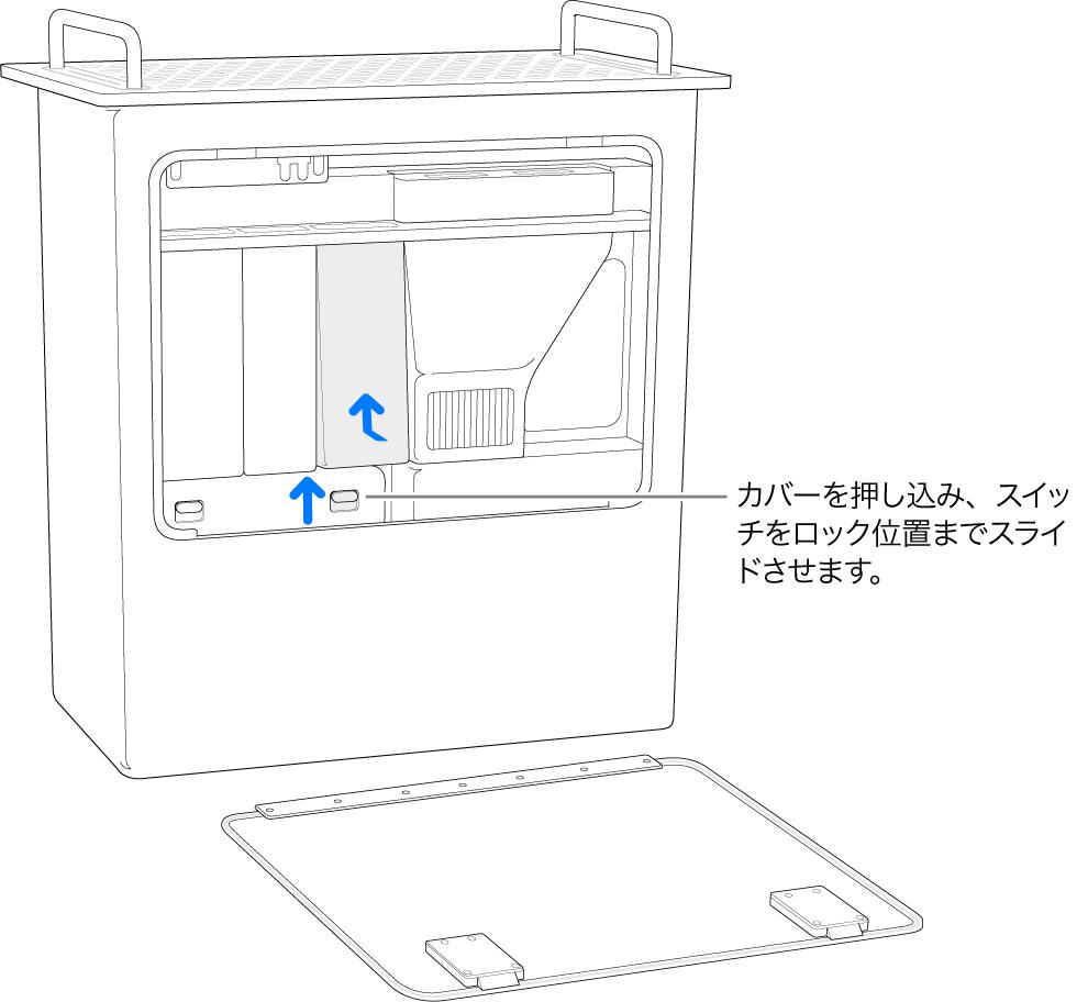 縦に置いてあるMac Pro。DIMMスイッチをロック位置に動かす方法が示されています。