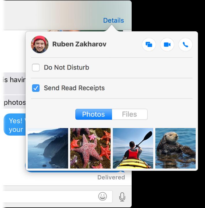 Messages терезесінің және оның Details мәзірінің жартылай скриншоты.
