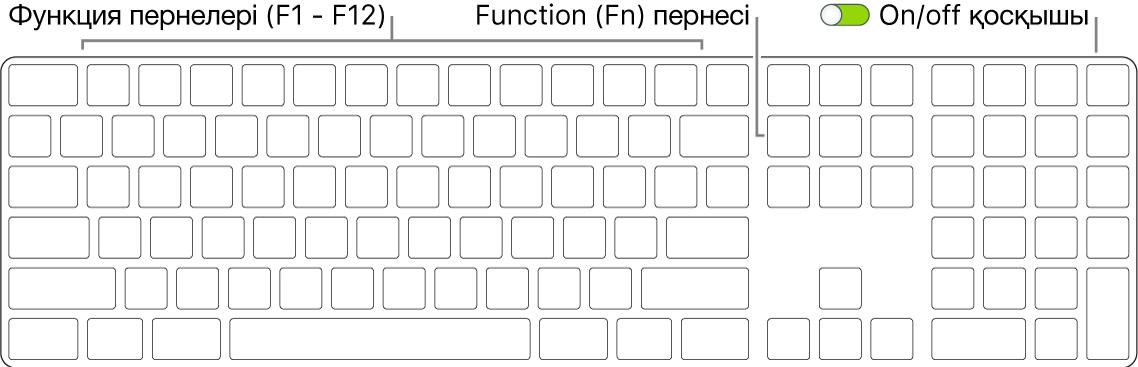 Төменгі солжақ бұрышта Function (Fn) пернесін және пернетақтаның жоғарғы оң жақ бұрышында on/off қосқышын көрсетіп тұрған Magic Keyboard пернетақтасы.