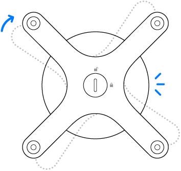 De adapter die rechtsom wordt gedraaid.
