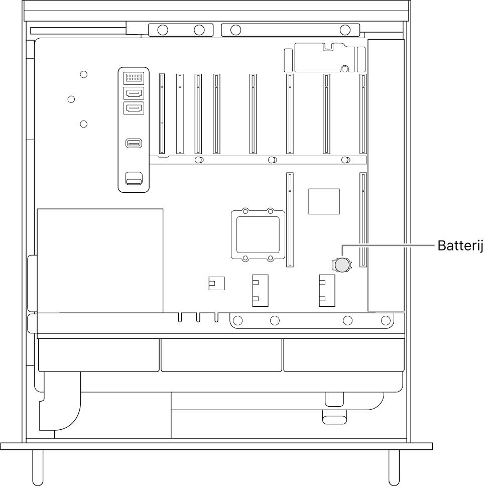 Zijaanzicht van een geopende MacPro met de locatie van de knoopcelbatterij.