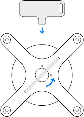 De sleutel en adapter die linksom worden gedraaid.