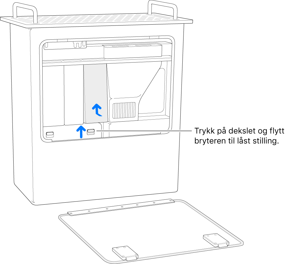 MacPro står med baksiden ned, og viser hvordan du flytter DIMM-bryteren til låst stilling.