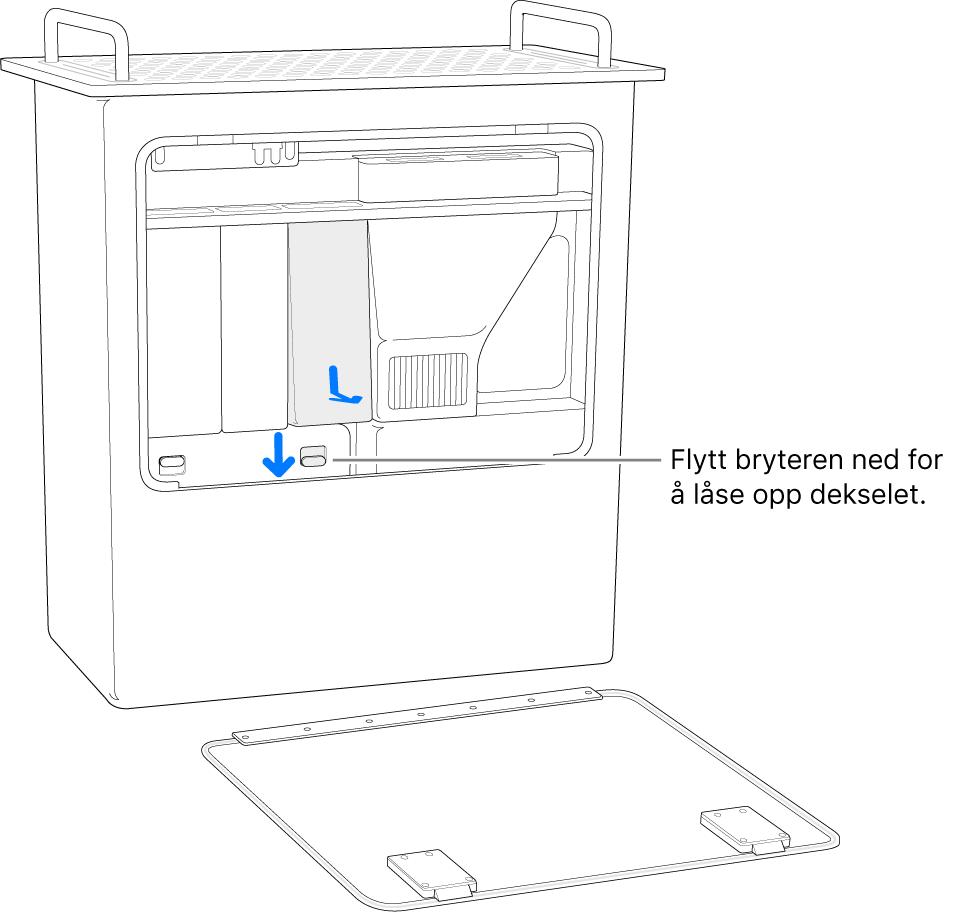 MacPro står med baksiden ned og bryteren som låser opp DIMM-dekselet er fremhevet.