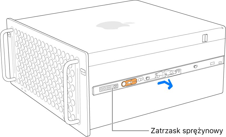 Szyna odłączana do boku Maca Pro.