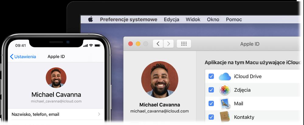iPhone wyświetlający ustawienia iCloud oraz ekran Maca zoknem iCloud.