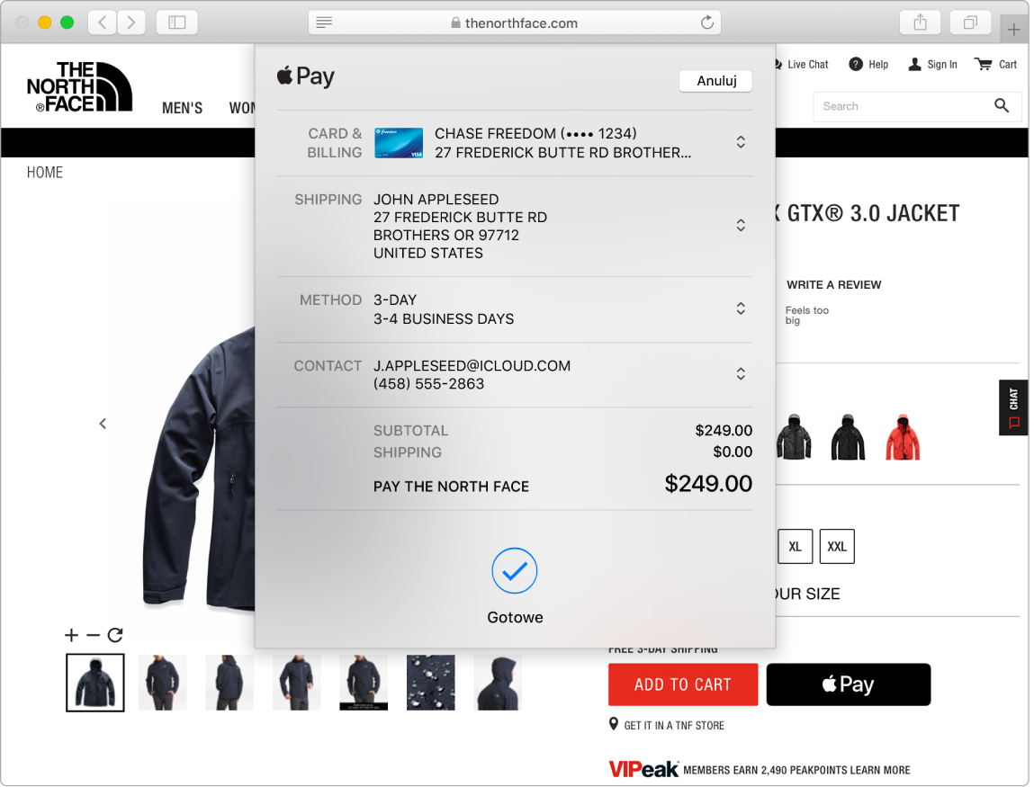Zrzut ekranu Maca przedstawiający przebieg zakupu wInternecie przy użyciu ApplePay iprzeglądarki Safari.