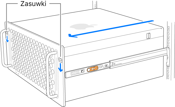 Mac Pro oparty na szynach zamocowanych do szafy serwerowej.